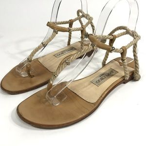 Jimmy Choo Sandals Tan Leather Rope Strappy Flat